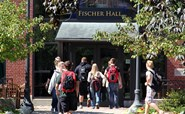 Image of students outside Fischer Hall